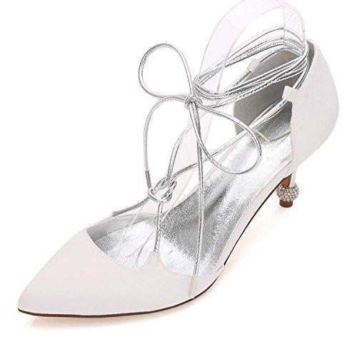 L@YC Women's Wedding Shoes 17767-27 Comfort Satin Spring Summer Wedding Party & Evening Dress Champagne Blue Ivory oP8aL
