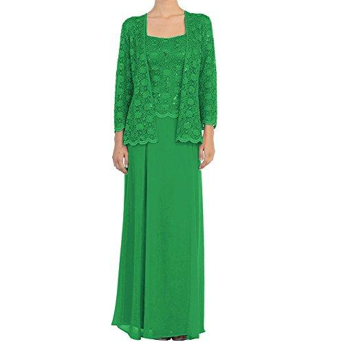 mit Kleider lange Gr¨¹n Wraps der Jacken Braut HWAN Kleid Chiffon Mutter formale Spitze pgSq06