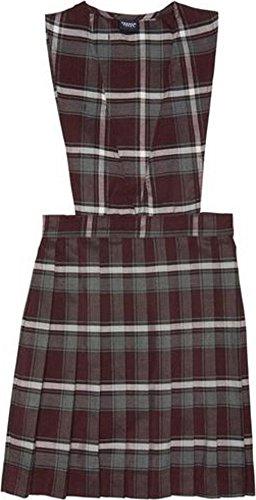 French Toast School Uniform Girls V-Neck Pleated Plaid Jumper, Burgundy Plaid, 12-1/2 (French Toast V-neck Jumper)