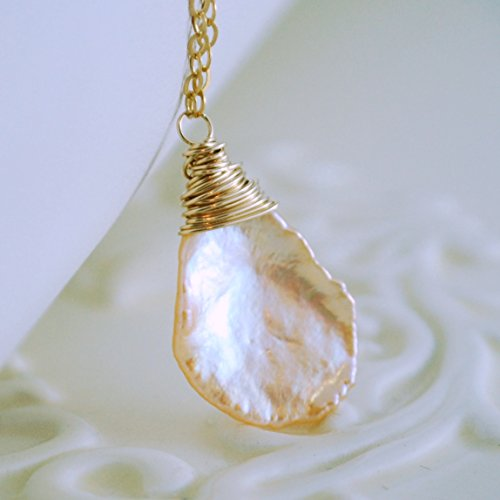 (Peach Keshi Pearl Necklace in Gold or Sterling Silver)