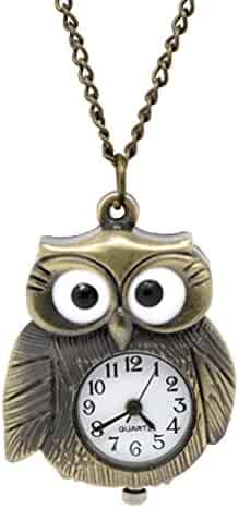 Godagoda Antique Bronze Color Owl Shape Animal Pocket Watch