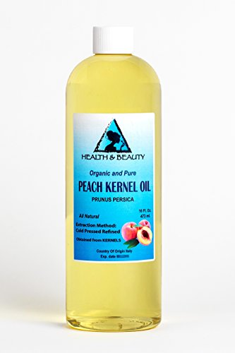Peach Kernel Oil Refined Organic Carrier Cold Pressed Natural Fresh 100% Pure 16 oz ()