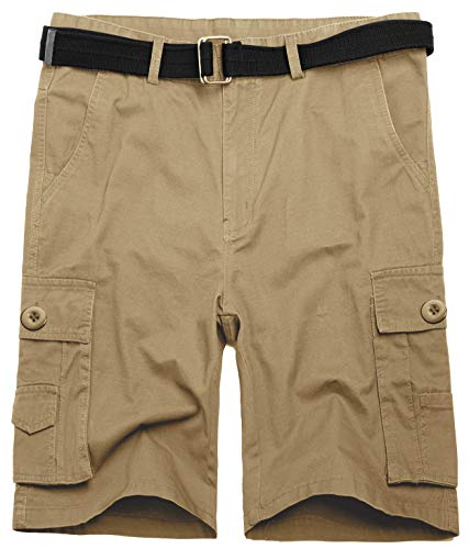 Wantdo Men's Belted Casual Lightweight Cargo Shorts 42 Khaki (Short Training Relaxed)