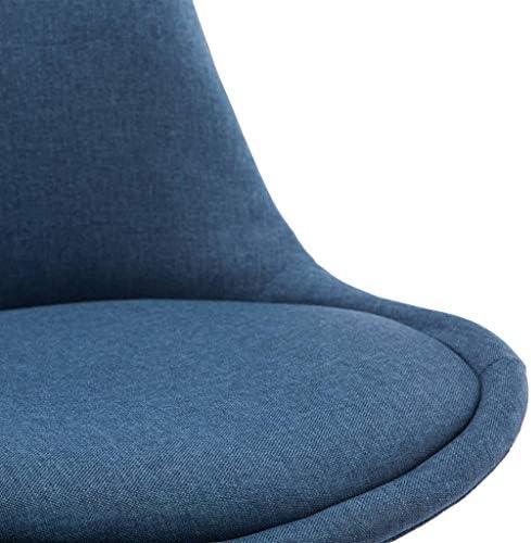 Festnight Chaises de Salle à Manger Chaises de Bureau 4 Pièces Bleu Tissu