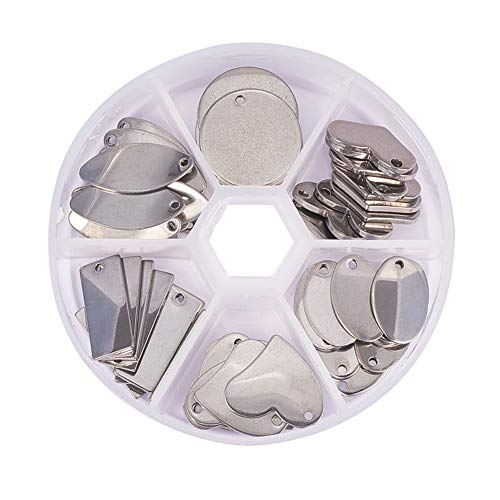 - PandaHall Elite 60 Pcs 304 Stainless Steel Flat Blank Stamping Tag Pendants Charms 6 Styles for Jewelry Making