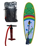 Inflatable Kids Stand Up Paddle Board Kit with SUP with 2 Way Pump, Carry Bag & 2 Piece Paddle - 9-Feet X 4-Inch Thick