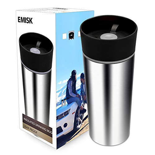 Travel Coffee Mug with 360° Drinking Lid, EMISK Leak-Proof Vacuum Insulated Tumbler, Double Walls Stainless Steel Thermal Travel Cup for Hot and Ice Cold Water Beverages (Cups Drinking Thermal)