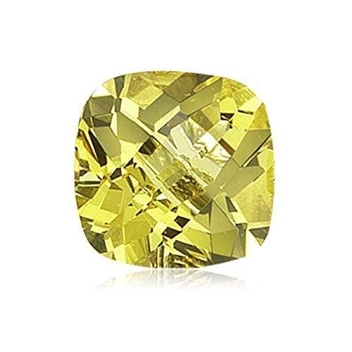 Lemon Citrine Gemstone - Mysticdrop 3.37-3.88 Cts of 10x10 mm AA Cushion Checker Board Lemon Citrine (1 pc) Loose Gemstone