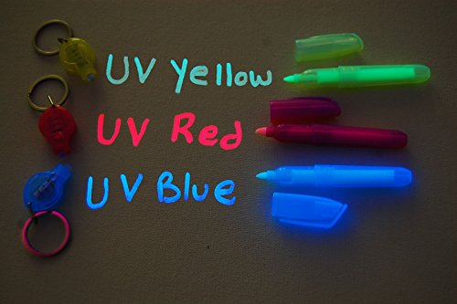 Set of 3 Invisible UV Blacklight Ink Marker Blue Red Yellow with UV Lights