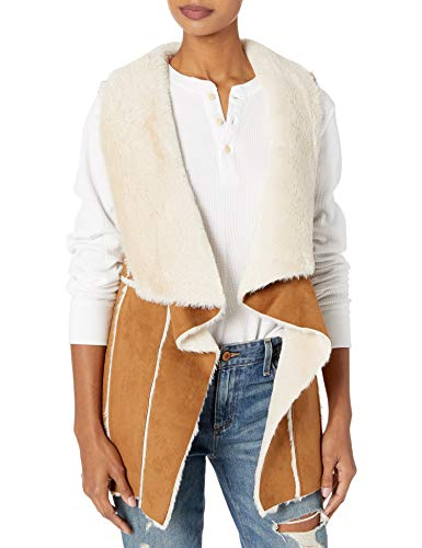 cupcakes and cashmere Women's tash Faux Suede and Fur Drape Front Vest, Butterscotch, Extra Small