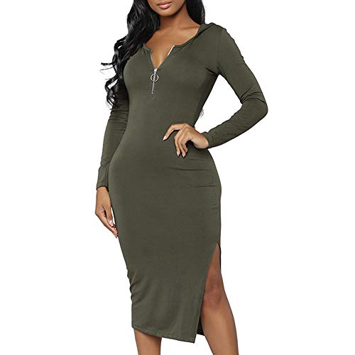 (JESPER Women Casual Party England Sexy Zipper Split Soft Pullover Hoodie Bodycon Dress Green)