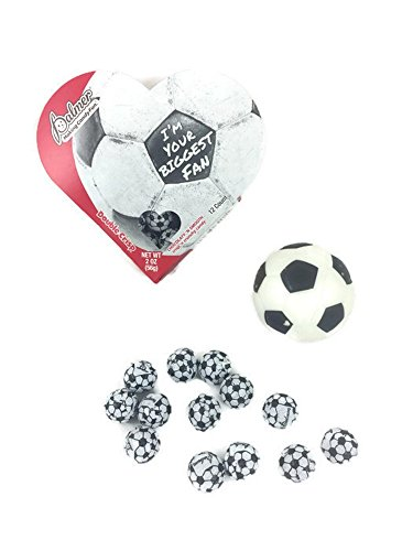 Soccer Valentines Bundle: 2 Items 12 Pieces Chocolate Soccer Balls in Valentines Heart Box, 1 Mini Soccer Ball (Soccer Chocolate)