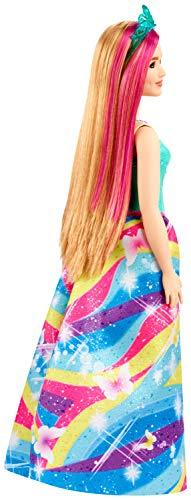 Barbie Dreamtopia Princess Doll, 12-inch, Curvy, Blonde with Pink Hairstreak