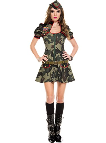 MUSIC LEGS Women's Sexy Army Brat, Green, Medium/Large