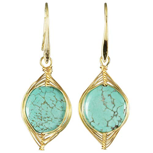 (SUNYIK Women's Green Howlite Turquoise Wire Wrapped Dangle Hook Earrings for Monther's Day Gift)