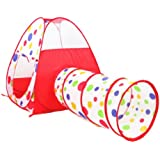 Polka Dot Indoor Outdoor Play Tent Pop Up Play House with Tunnel Combo