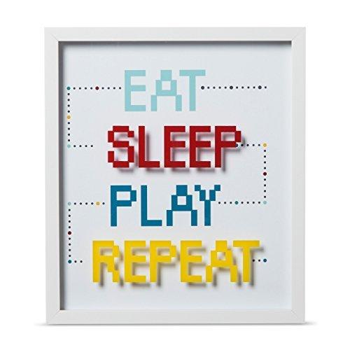 "Eat Sleep Play Repeat Framed Wall Print (16""x14""x1.38"") - Pillowfort"