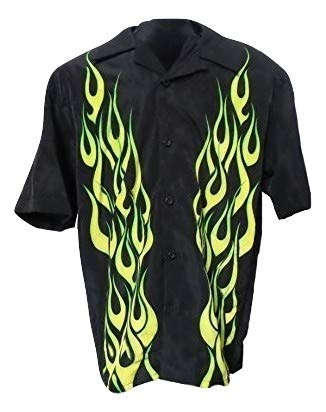 SAPPHIRE LOUNGE Men's Short Sleeve Casual Novelty Printed Button Down Woven Shirt (Yellow Flame, Large)