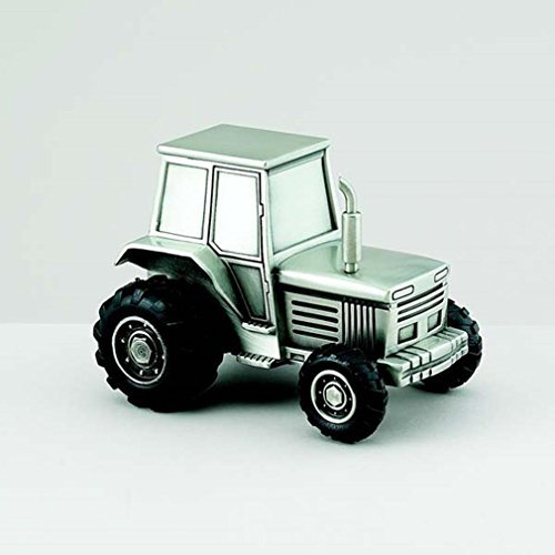 Pewter Tractor Bank - Tractor Replica Non-Tarnish Brushed Pewter Finish Keepsake Coin Bank by Creative Gifts