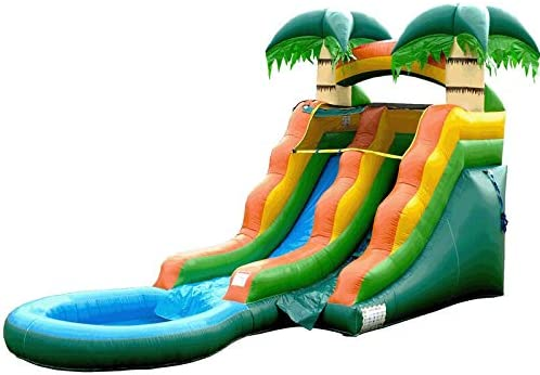 100/% Commercial PVC Vinyl Rainbow Colors and Green Jungle Theme Rental Quality Inflatable Slide with Attached Pool HeroKiddo Tall Summer Breeze Water Slide Blower and Pool Included