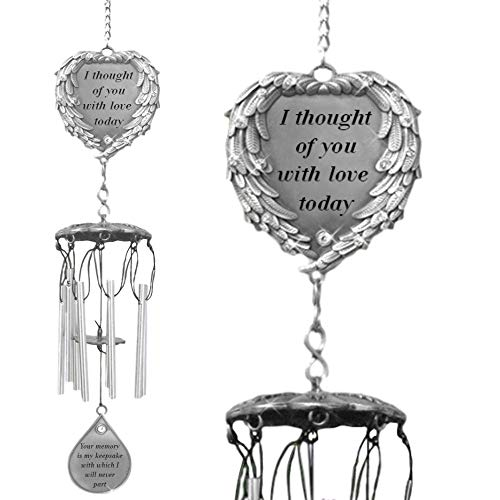 BANBERRY DESIGNS Memorial Windchimes - I Thought of You with Love Today Poem Engraved on This Wind Chime - Angel Wings Wrapped Around a Heart and Teardrop Charm - in Loving Memory Chimes ()
