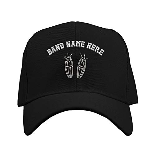 Custom Baseball Hat Bong Drums Embroidery Band Name Acrylic Structured Cap Hook & Loop - Black, Personalized Text Here