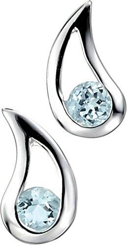 Elements Silver Womens Teardrop Topaz Earrings - Silver/Sky Blue
