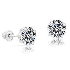 14k White Gold Solitaire Round Cubic Zirconia CZ Stud Earrings in Secure Screw-backs. The 7mm cz stud earrings will not close very tight to the ear lobe if you have thin ear lobes and may droop down.