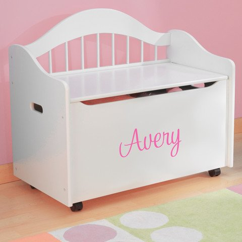 Personalized Premium Edition Toy Box - White, Girls with Custom Font Choices