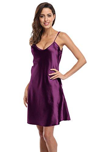 KimonoDeals Women's Satin Nightshirts Camisole Nightgown Chemises Slip Sleepwear, Modena 3XL (Dresses Plus Satin Size)