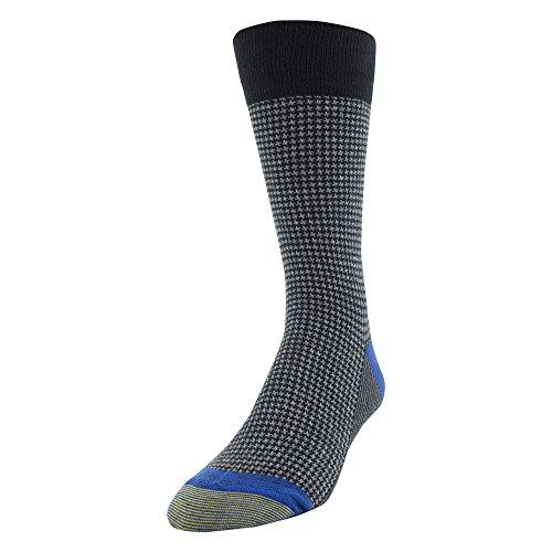 Mens Houndstooth Dress - Gold Toe Men's Patterned Fashion Dress Crew Socks, 1 Pair, Houndstooth Black, Shoe Size: 6-12.5
