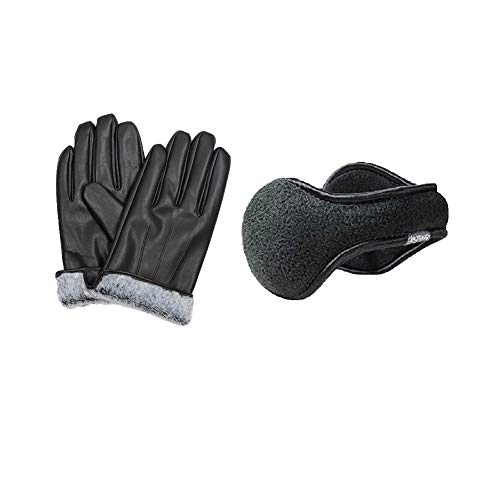 Mens Pu leather gloves fur lined and 180s Ear Warmers behind the head Fleece Degrees ear muffs Set (Medium)
