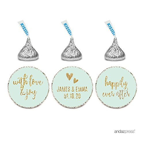 Andaz Press Mint Green Gold Glitter Print Wedding Collection, Personalized Chocolate Drop Label Stickers Trio, 216-Pack, Custom Name, Fits Hershey's Kisses Party Favors