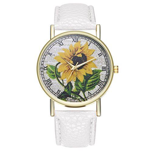 Leather Band Artificial Dial (Loweryeah Women Sunflower Pattern Casual Quartz Watch Print Dial Watch with Artificial Leather Band (White))