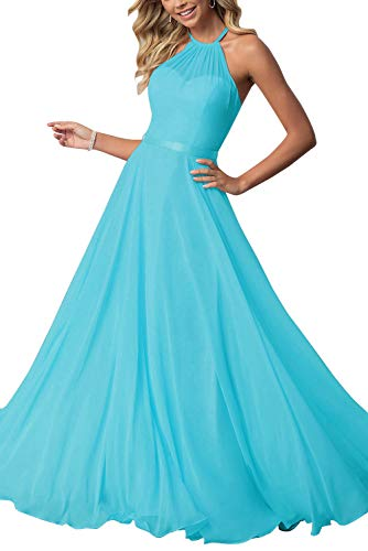 Bridesmaid Dresses Long Halter Chiffon Aline Prom Formal Wedding Party Dress Womens Turquoise 12