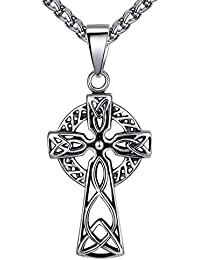 """Men's Stainless Steel Celtic Cross Filigree Irish Knot Large Pendant Necklace, 24"""" Link Chain, aap136"""