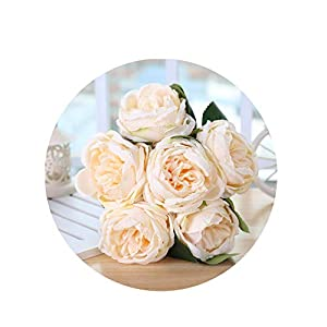 Artificial-Flowerswedding Bouquet Silk Red Rose Peony Fake Flower Pink White Wedding Bouquet for Bridal Bridesmaid Mariage Wedding Supplies,Champagne 83