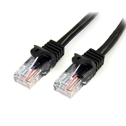 (StarTech.com Cat5e Ethernet Cable - 25 ft - Black- Patch Cable - Snagless Cat5e Cable - Long Network Cable - Ethernet Cord - Cat 5e Cable - 25ft (45PATCH25BK))