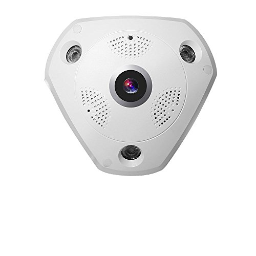 Panoramic Card (TOLLAR VISION 5.0MP 360 Degree Panoramic CCTV WiFi Security IP Network FishEye Camera (Support SD/TF Card max 128G))