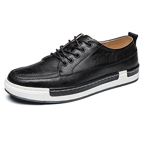 DHFUD Hommes Chaussures de Sport Respirant Faible Aide Chaussures Plates Black
