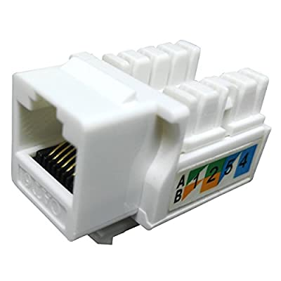 RJ45 Keystone Jack Ethernet Punch Down Cat 5 5e 6 Inserts Network Module (10-Pack White)