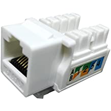 RJ45 Keystone Jack Ethernet Punch Down Cat 5 5e 6 Inserts Network Module (10-Pack White)