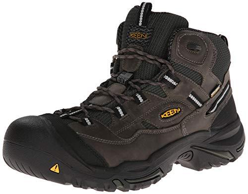 KEEN Utility - Men's Braddock Mid Waterproof (Steel Toe) Work Boots, Gargoyle/Forest Night, 11.5 EE