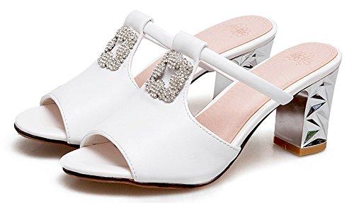 Strass Soirée Blanc Ornement Aisun Femme Sandales Mode Mules Chunky Toe Peep RFqgI0a