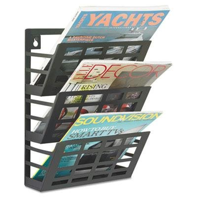Safco - Grid Magazine Rack Three Compartments 9-1/2W X 5-1/2D X 13-1/2H Black ''Product Category: Office Furniture/Display Racks & Cases''