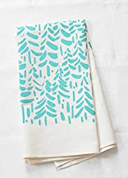 Organic Cotton Brushstroke Trees Tea Towel in Mint Green