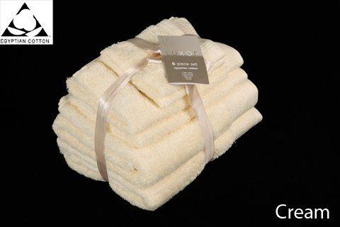 CREAM 650gsm 6pc Prestige 'Luxor' Egyptian Cotton Towel Bale Bundle Gift Set Viceroybedding