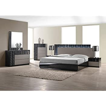 queen size bedroom set. J M Furniture Roma Black  Grey Lacquer With Unique Wave Design Queen Size Bedroom Set Amazon com