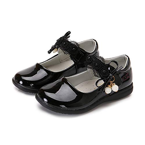 Girls Leather Bows Design Soft Round Toe Princess Dress Mary Jane Flat Shoes(Toddler/Little Kid)(Black1-EU 31/13 M US Little Kid)