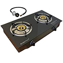 2 Burner Propane Gas Stove - Cooktop Portable Cooker Camp Stove - Table Top Glass STYLE